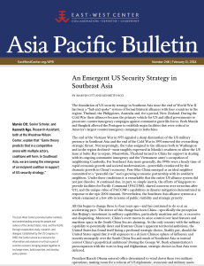 An Emergent US Security Strategy in Southeast - East