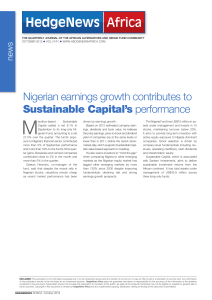 Nigerian earnings growth contributes to Sustainable Capital`s