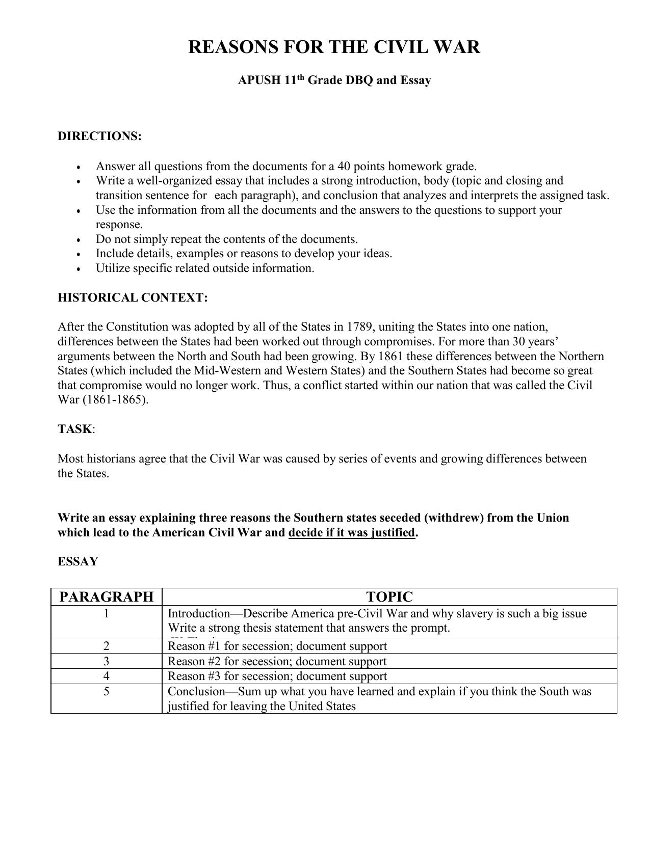 causes of the civil war essay apush