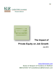 The Impact of Private Equity on Job Growth