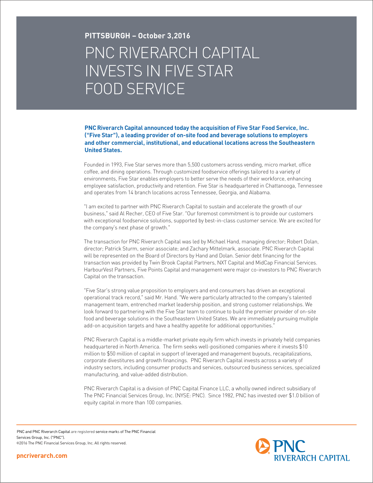 pnc riverarch capital invests in five star food service