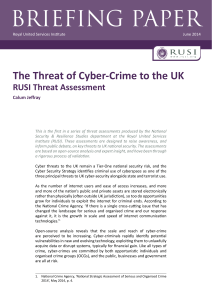 The Cyber-Crime Threat to the UK - Royal United Services Institute