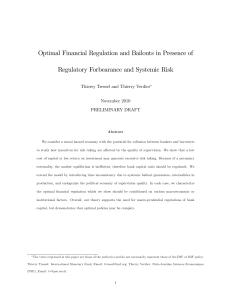 Macro-prudential Financial Regulation in presence of Regulatory
