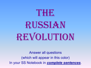 2: If you were living in Russia during World War I