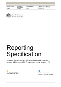 electronic reporting specification * qtfn and abn pc spreadsheet