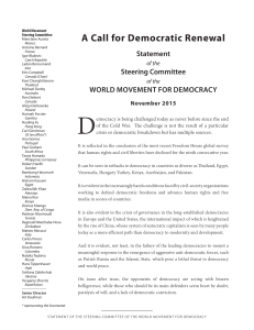 A Call for Democratic Renewal - World Movement for Democracy