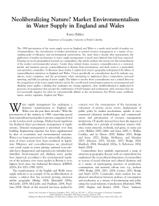 Neoliberalizing Nature? Market Environmentalism in Water Supply