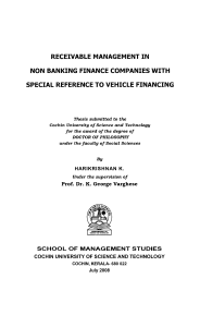 Receivable management in non banking finance companies with