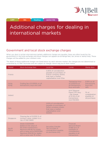Additional charges for dealing in international markets