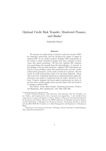 Optimal Credit Risk Transfer, Monitored Finance, and