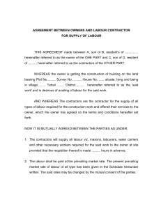 agreement between owners and labour contractor for