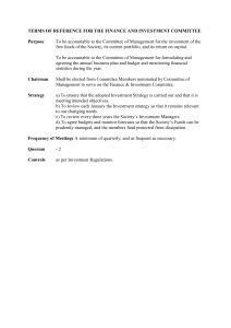 Terms of reference for the finance and investment committee