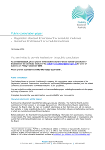 Public consultation paper - Podiatry Board of Australia