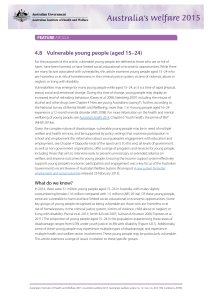 Chapter 4.8 Vulnerable young people (aged 15–24)