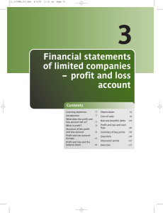 Financial statements of limited companies – profit and loss account