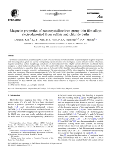 Magnetic properties of nanocrystalline iron group thin film alloys