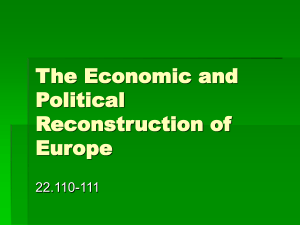 The Economic and Political Reconstruction of Europe