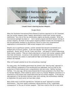 Canada`s Role in Banning Nuclear Weapons