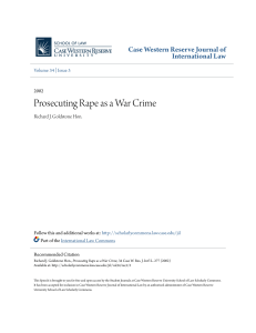 Prosecuting Rape as a War Crime