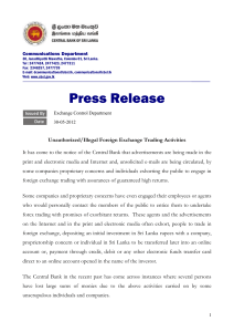 Unauthorized/Illegal Foreign Exchange Trading Activities