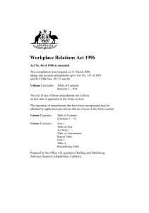 Workplace Relations Act 1996 - Federal Register of Legislation