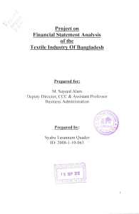 Project on Financial Statement Analysis of the Textile Industry Of