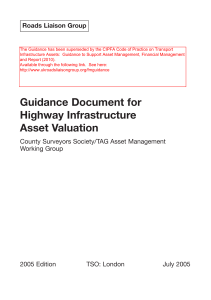 Guidance Document for Highway Infrastructure Asset Valuation