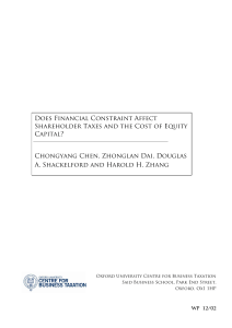 Does Financial Constraint Affect Shareholder Taxes and the Cost of
