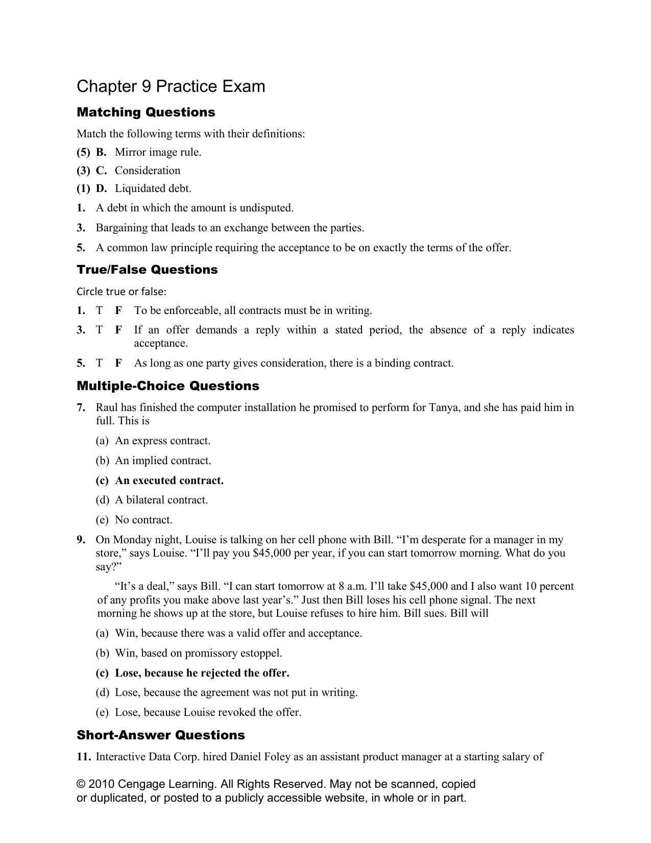 Chapter 9 Practice Exam