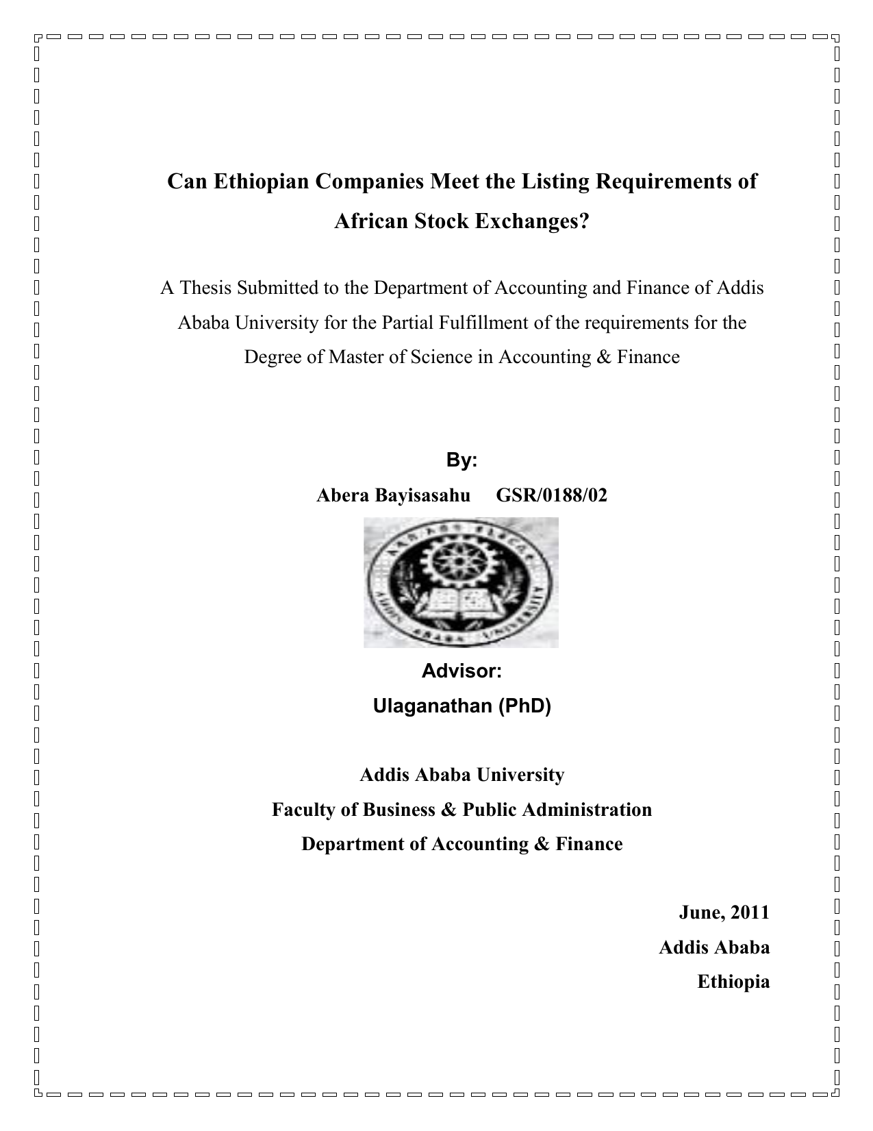 Can Ethiopian Companies Meet the Listing Requirements of African
