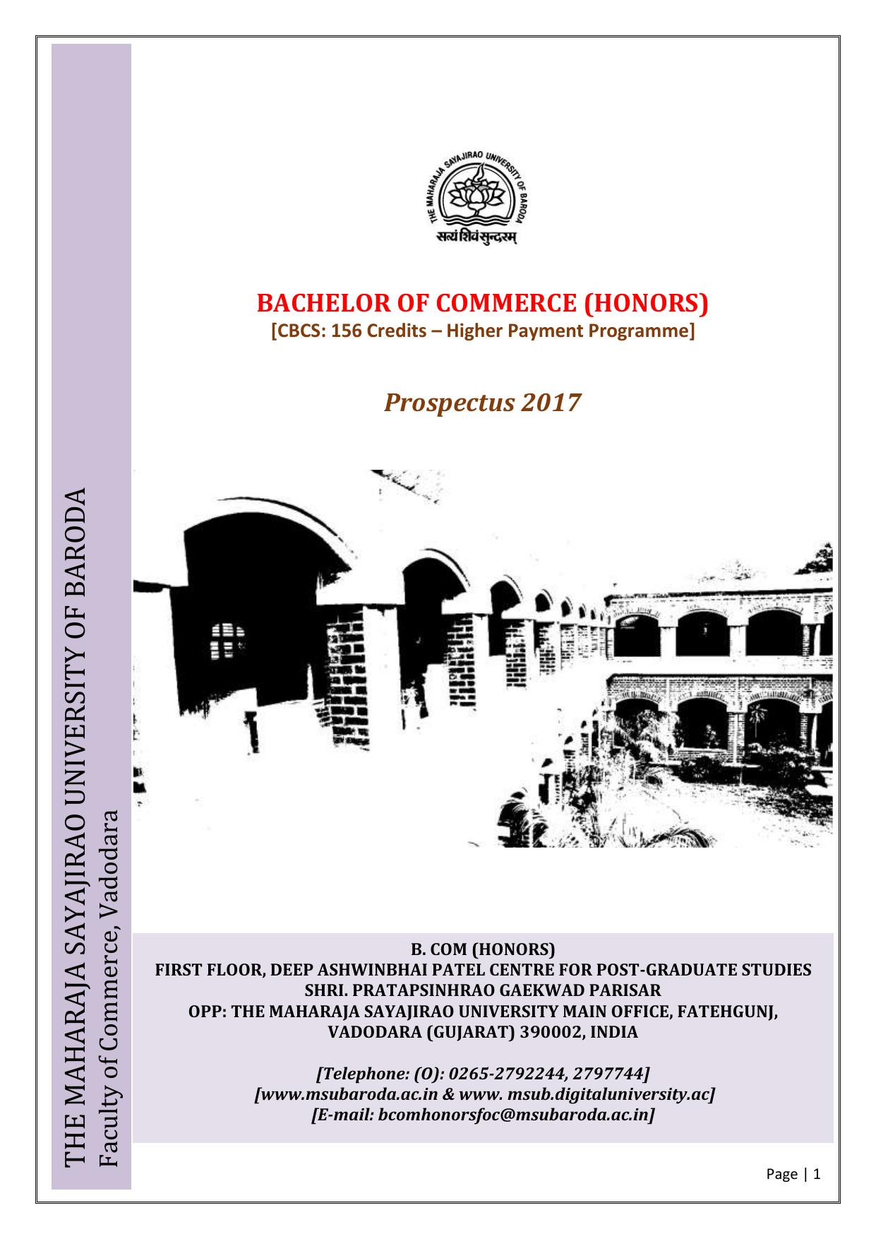 Ff 2017 18 B Com Ho Maharaja Sayajirao University Of Baroda