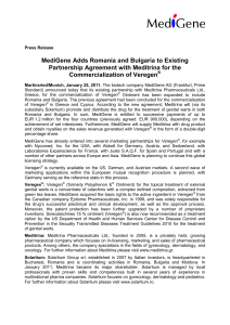 MediGene Adds Romania and Bulgaria to Existing