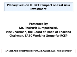 Plenary Session III: RCEP Impact on East Asia Investment