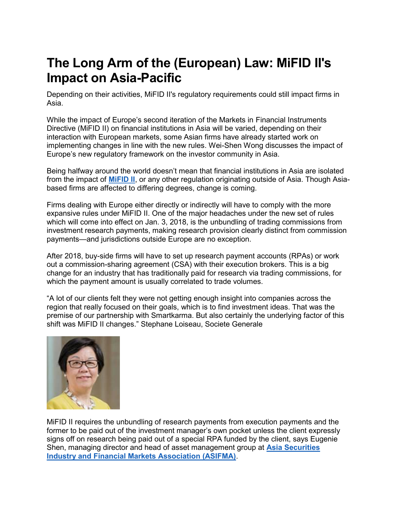 MiFID II`s Impact on Asia-Pacific