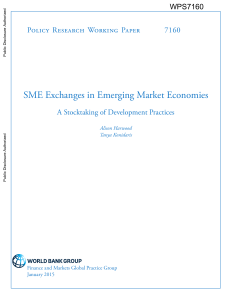 SME Exchanges in Emerging Market Economies