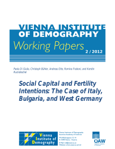 Social Capital and Fertility Intentions: The Case of Italy, Bulgaria