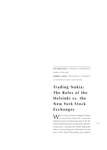Trading Nokia: The Roles of the Helsinki vs. the New York Stock