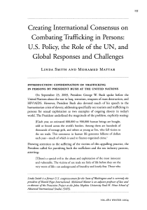 Creating International Consensus on Combating Trafficking in Persons