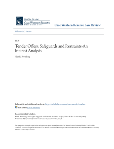 Tender Offers: Safeguards and Restraints-An