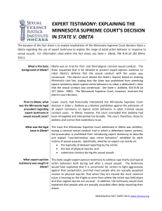 Expert Testimony: Explaining the Minnesota Supreme