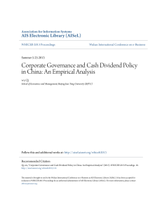 Corporate Governance and Cash Dividend Policy in China: An