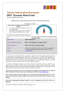 Scheme Information Document IDFC Dynamic Bond Fund