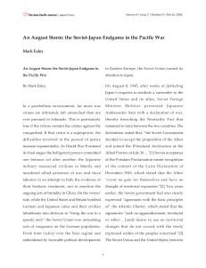 An August Storm: the Soviet-Japan Endgame in the Pacific War