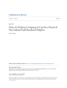Duty of a Railway Company to Care for a Person It Has without Fault