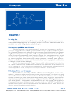 Thiamine Monograph - Alternative Medicine Review