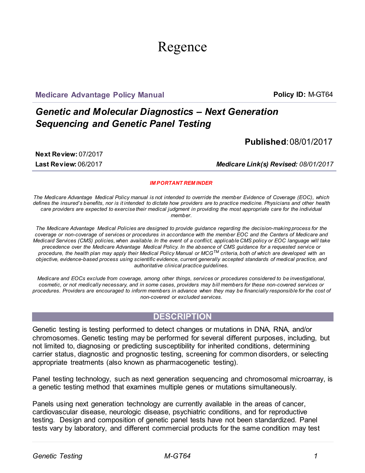 Genetic and Molecular Diagnostics – Next Generation Sequencing