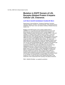 Mutation in the EGFP domain of LDL receptor
