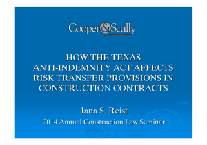 HOW THE TEXAS ANTI-INDEMNITY ACT AFFECTS RISK