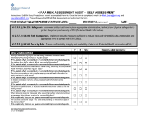 Form 4e HIPAA Risk Assessment Survey