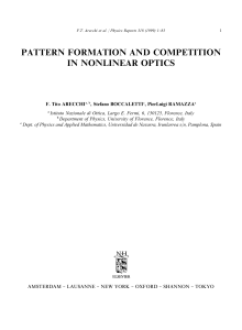 pattern formation and competition in nonlinear optics - Ino-Cnr